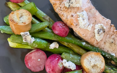 Salmon fillet with Asparagus, Sugar Snap Peas and Radish Salad