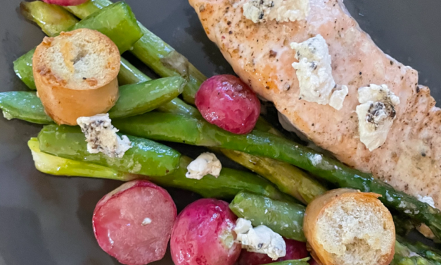 Salmon fillet with Asparagus, Sugar Snap Peas and Radish Salad